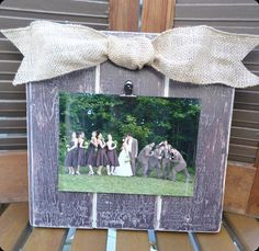 Rustic Picture Frame with Burlap Bow (Plum)