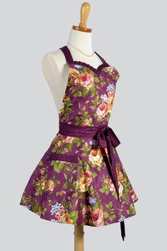 Sweetheart Apron - Retro Flirty Womens Apron in Eggplant Berry Rose Floral Vintage Wine Style Retro Apron Cute Apron