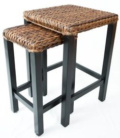 BirdRock Home Seagrass Nesting Accent Tables | Hand Woven Seagrass | Fully Assembled