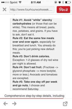 Four hour body rules (slow carb diet) paleo minus fruit plus legumes...
