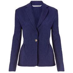 Diane von Furstenberg Gavyn Textured Cotton Slub Blazer ($428) ❤ liked on Polyvore featuring outerwear, jackets, blazers, midnight, cotton blazer, blue blazer jacket, diane von furstenberg blazer, single button blazer and one button blazer