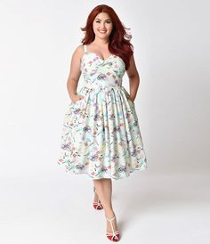 Unique Vintage Plus Size 1950s Mint Llama Fun Fair Print Chateau Swing Dress