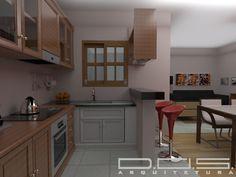 Projeto simples e funcional, para cozinha de pequena residencia, conjugada com sala de jantar e estar, aproveitando ao máximo a iluminação natural e ventilação!