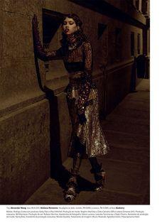 Striking a pose, Lorena Maraschi models Alexander Wang top and Giuliana Romanno skirt