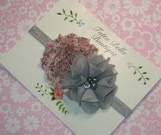 Rosa e cinza Flor Headband, Baby Faixa de Cabelo, Silver Pearl Chiffon Flor, Criança Faixa de Cabelo, Faixa de Cabelo Recém-nascido, cinza e rosa arco de cabelo