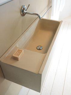 ELLEDUE Concrete washbasin by Moab 80 design Gabriella Ciaschi, Studio Moab Beton Design, Concrete Basin, Concrete Floors, Concrete Furniture, Bathroom Furniture, Bathroom Basin, Small Bathroom, Bathroom Ideas, Sink Inspiration