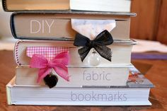 DIY Bookmarks - a good way to reuse mismatched earrings, stray beads, and fabric/ribbon scraps.