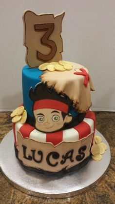 Jake and the Neverland Pirates cake. Chocolate and Vanilla cake.
