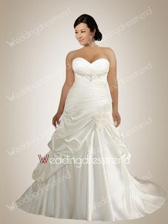 Fabulous Sweetheart Beaded Plus Size Wedding Dress with Pick-ups