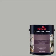 Kilz Complete Coat Interior/Exterior Paint & Primer in One #RK220 Warm Ashes, 1 gal, Flat, Gray