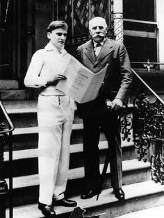 Violinist Sir Yehudi Menuhin and composer Sir Edward Elgar outside the iconic Abbey Road studios in 1933