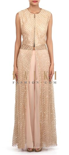 Buy Online from the link below. We ship worldwide (Free Shipping over US$100). Product SKU - 305724.Product Link - http://www.kalkifashion.com/gold-suit-adorn-in-sequin-embroidery-only-on-kalki.html