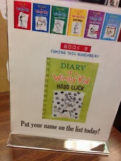 A new Diary of a Wimpy Kid book approacheth. In honor of the new book coming soon, I wanted to set something Wimpy up at my steal. Elementary School Library, Elementary Schools, Library Book Displays, Library Ideas, Wimpy Kid Books, Library Bulletin Boards, Teacher Librarian, Library Activities, Library Programs
