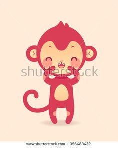 Cute cartoon laughing monkey. Illustration in vector.