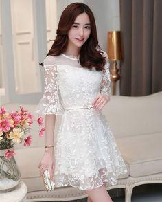 Korean Fashion Dress, Korean Dress, Asian Fashion, Fashion Dresses, White Dresses For Women, Simple Dresses, Cute Dresses, Short Dresses, Cute Fashion