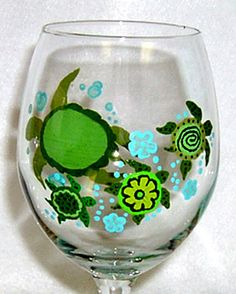 Turtle Lover Wine Glass Hand Painted by ConniesCreations2010, $12.00