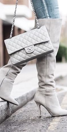 Chanel ~ White Flap Bag + Tall Boots