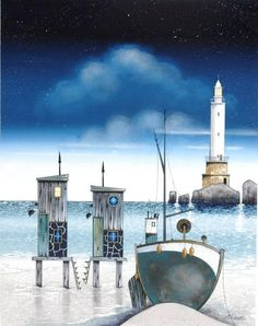 Moonlight Mooring - Gary Walton - Love Art, Art Gallery in Nantwich Love Art, All Art, Drawing Fist, Illustrations, Illustration Art, Image Nature Fleurs, Lighthouse Painting, Dream Pictures, City Folk