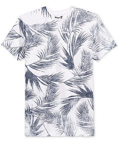 Univibe Men's Leaf Graphic-Print T-Shirt - T-Shirts - Men - Macy's Custom T Shirt Printing, Printed Shirts, Tee Shirts, Camisa Floral, Gap Outfits, Going Out Shirts, Smart Casual Men, Spring T Shirts, Gents Fashion