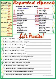 Reported Speech worksheet - Free ESL printable worksheets made by teachers English Grammar For Kids, Teaching English Grammar, English Grammar Worksheets, English Language Learning, English Vocabulary, Grammar Rules, Grammar Lessons, English Lessons, Learn English