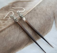 Porcupine Quill Earrings with Native American Silver by DesignsBloom