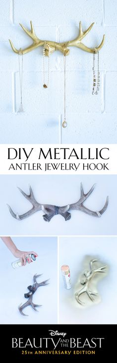 Refurbish rustic antlers to create a feminine jewelry hook for your home.