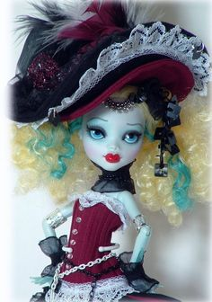 Monster high repaint lagoona doll  victorian fancy costume ooak custom #ooakrepaint
