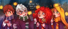 Rotbtd Hogwarts AU   ... tangled dragons rotbtd jarida hogwarts!au how to train you dragon