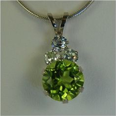 Peridot Necklace White Gold  8mm Round 215ct With by Gusgusgems