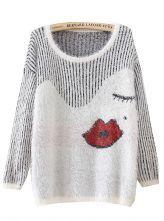 Beige Long Sleeve Vertical Stripe Lip Mohair Sweater US$22.89