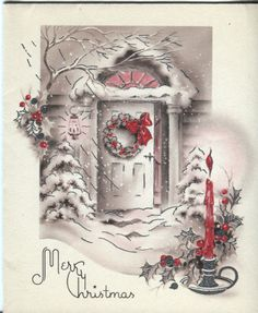 Vintage Christmas Card: Art Deco Open Door Scene with Silver Highlights