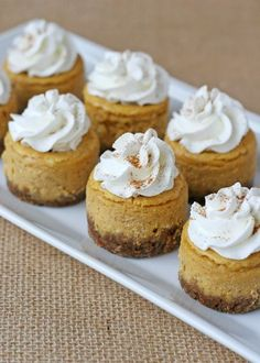 Mini Pumpkin Cheesecake – Glorious Treats. This delicious mini pumpkin cheesecake recipe can be also be made into one large cheesecake. Thanksgiving Desserts, Fall Desserts, Just Desserts, Delicious Desserts, Dessert Recipes, Yummy Food, Pumpkin Cheesecake Recipes, Pumpkin Recipes, Cheesecake Factory Pumpkin Cheesecake