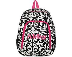 $9.25 Damask with Fuchsia Trim Backpack