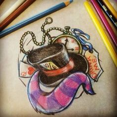 Absolutely LOVE this tattoo!!! Mad hatter, Cheshire Cat, and white rabbit all in one!!!