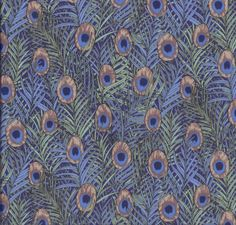 Timeless Treasures Plume tela artesanal plumas pavo real azul y oro metálico F//Q