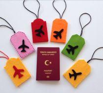 Minniemouse  Valiz Etiketleri Bej rengi keçe üzerine kırmızı minniemouse figürlü şirin valiz etiketi. Arka yüzü.... 349576
