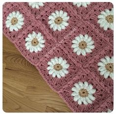 Pink daisy afghan squares by Little Duck Crochet