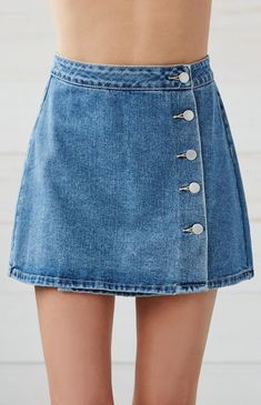 Button Front Wrap Denim Skirt