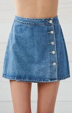 Button Front Wrap Denim Skirt