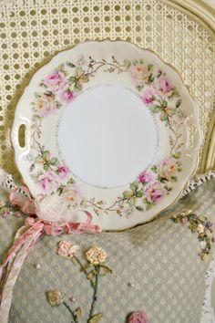 Antique Hand Painted German Porcelain Cake Plate by Jenneliserose