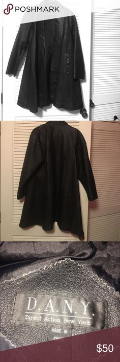 """Black Leather Poncho Coat Black Leather Poncho Coat - Size """"Small"""", silk lined, slit side pockets, no rips or tears. Gently worn and loved. Brand is Direct Action New York  ❤ Make me An Offer✨ Direct Action New York Jackets & Coats Trench Coats"""