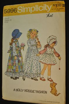 Girls' Holly Hobbie Dress Pinafore and Bonnet Size by ClassicCabin, $4.98