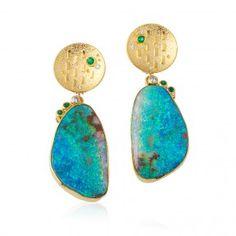 Boulder Opal & 22 Karat Earrings - Colored Gemstones - Jewelry - Fairchild & Co. Stylish Jewelry, Modern Jewelry, Vintage Jewelry, Fine Jewelry, Fashion Jewelry, Unique Jewelry, Black Opal Jewelry, Turquoise Jewelry, Gemstone Jewelry