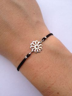 Flower Charm Bracelet with nylon cord and adjustable by IzouBijoux