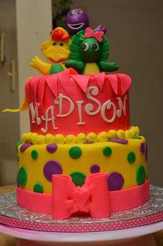 Barney cake--love the bow on Baby Bop!