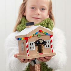 How to Decorate a Christmas Mache House #decorate #christmas #mache #house #cabin #chalet #kids #craft #project #tutorial