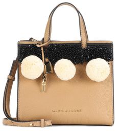 c6d84e7072ea Marc Jacobs - Beads   Pom Poms Little Big Shot leather tote - Marc Jacobs