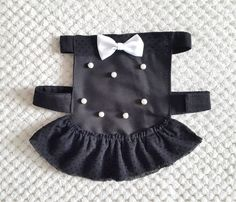 Dog Dress Black & Pearls, Girl Dog Wear, Ruffled Dog Dress, Pet Vest, Elegant Dog Dress for formal occasions