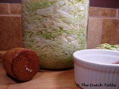 The Dutch Table: Zuurkool (Dutch Sauerkraut) Fermented Cabbage, Pickled Cabbage, Traditional Dutch Recipes, Dutch Kitchen, Steak Tartare, Danish Food, Pickle Jars, Preserving Food