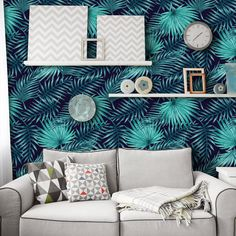 Palm Leaf Tropical Wallpaper | Peel and Stick Wallpaper in Dark Navy and Teal | Removable Wallpaper for Home Decor | Easy to Apply W1059
